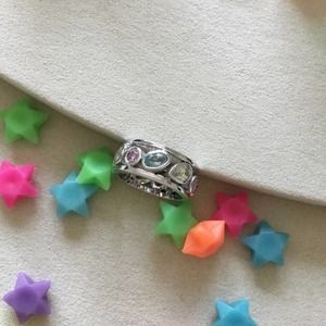 Silver Cute Stackable Crystals Ring